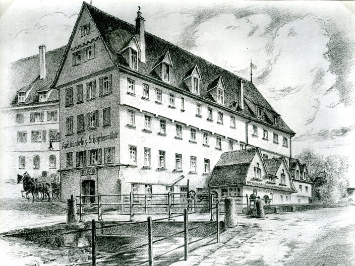 Abbildung Mühle an der Blau um 1928