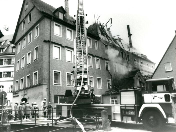 Abbildung ausgebrannte Mühle an der Blau 1983
