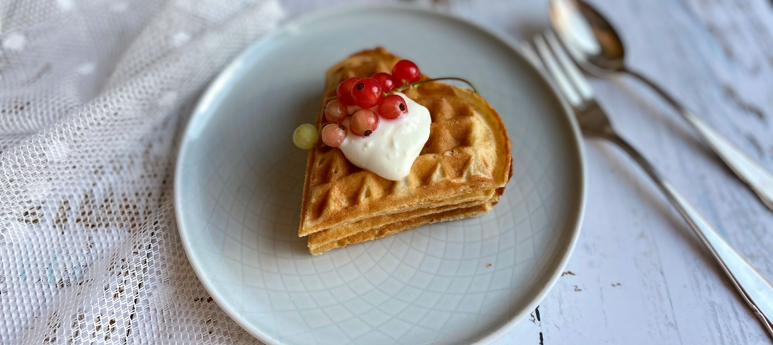 Picture Oat bran waffles with sour cream close up